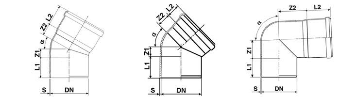 Схема ПВХ отвода с углом 30, 45, 90 градусов